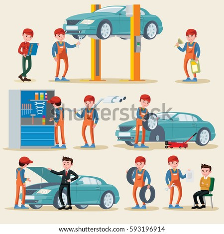 Car service elements set with auto mechanics in repair work process equipment and clients isolated vector illustration