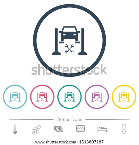 Car service flat color icons in round outlines. 6 bonus icons included.
