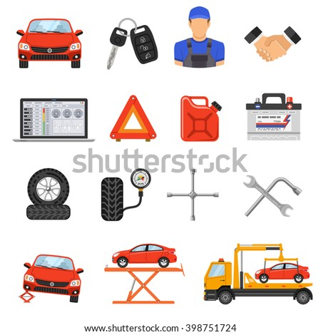 car service flat icons set for