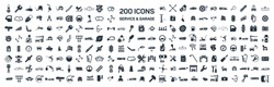 Car service & garage 200 isolated icons set on white background, repair, car detail