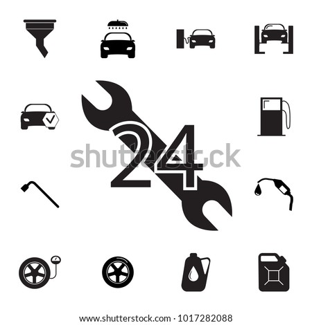 car service, 24 hours icon. Set of car repair icons. Signs, outline eco collection, simple icons for websites, web design, mobile app, info graphics on white background