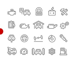 Car Service Icons // Red Point Series - Vector line icons for your digital or print projects.