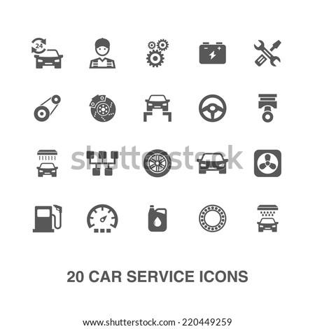 Car service icons set.