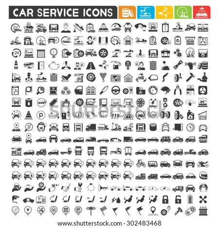 car service icons set, automotive, car production, car parts, car wash icons, vector set