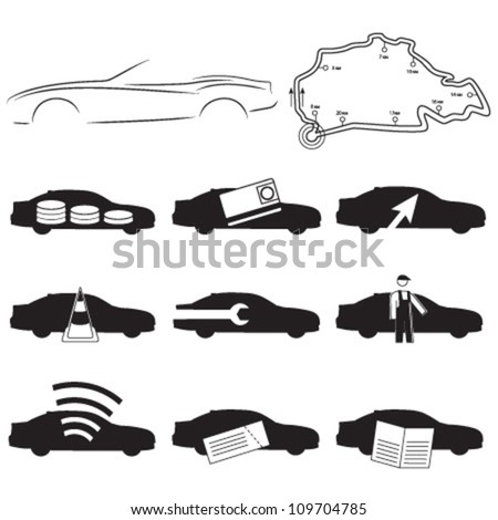 Car service icons, set, car silhouette, speed track