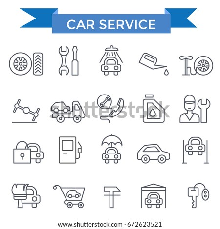 Car service icons, thin line design