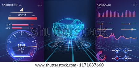Car service in the style of HUD.Futuristic user interface. HUD UI. Abstract virtual graphic touch user interface. Cars infographic. Vector science abstract. Virtual graphical interface UI HUD