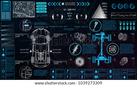 Car service in the style of HUD. Virtual graphical interface Ui HUD Autoscanning, analysis and diagnostics, Abstract vector science. Car auto service infographics. repair Futuristic user interface.