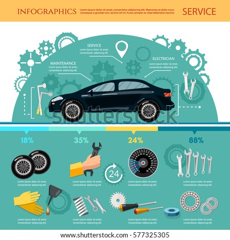 Car service infographic mechanic tool tuning diagnostics, tire service, car repair