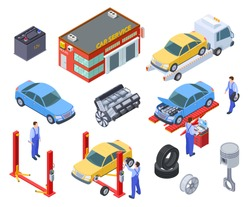 Car service isometric. People repair cars with auto industrial equipment. Technicians replace vehicle part, wheels. Workshop 3d vector. Illustration of repair car industry, automobile service
