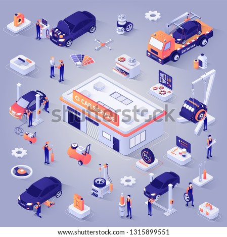 Car Service Isometric Projection Icons Set. Repair Shop Garage , Tow Truck, Mechanics or Technicians Repairing, Replacing Spare Parts in Vehicle, Working Tools and Equipment Illustrations Collection