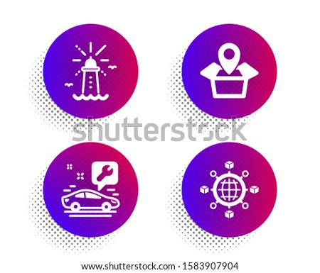 Car service, Lighthouse and Package location icons simple set. Halftone dots button. Logistics network sign. Repair service, Navigation beacon, Delivery tracking. International tracking. Vector