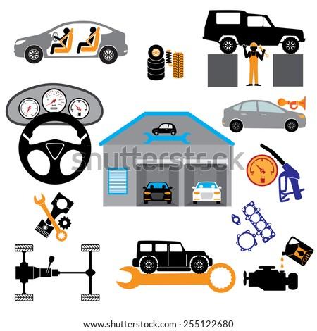 Car service maintenance icon Car part set of repair icon vector illustration