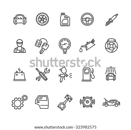 car service outline icons set