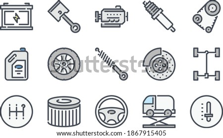 car service related color line icon set