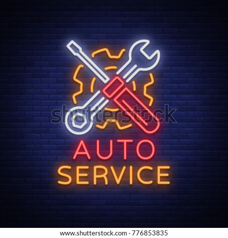 Car service repair logo vector, neon sign emblem. Vector illustration, car repair, shiny signboard for garage for auto repair. A flaming banner, a nightly bright signboard ad for your projects