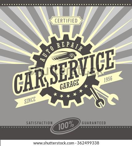 car service retro banner design ...