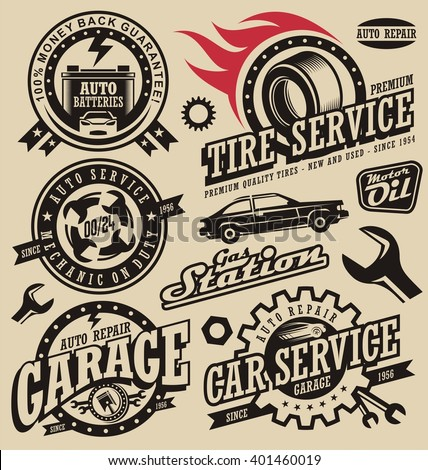 Car service symbols. Auto and engine parts. Retro vector car icons collection. Vintage style labels and badges set. Logo design concept for garage.