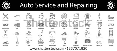 Car service thin line icons set, Auto Repair Shop vector, Lorry Spare Parts Design Set, Basic automotive symbol on white background, Vehicle repair garage  and Service Graphic Foto d'archivio ©