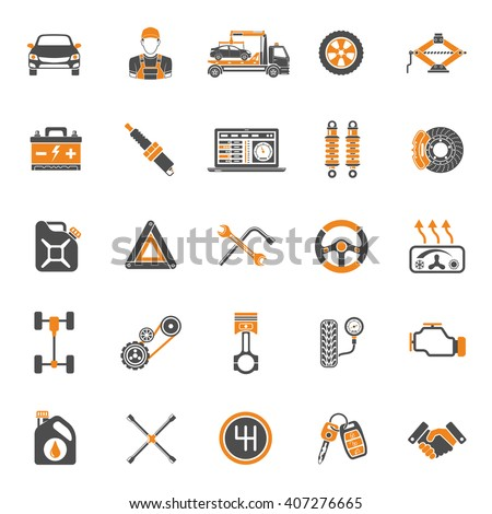 car service two color icons set