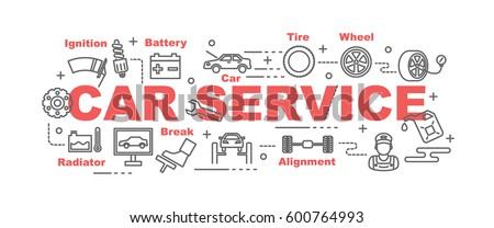 car service vector banner design concept, flat style with thin line art icons on white background
