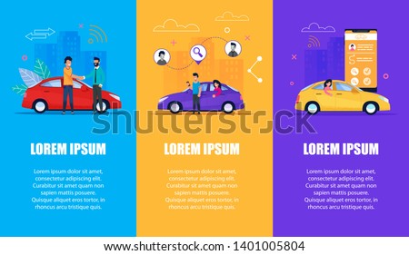 Car Service Vertical Banner Set. Carsharing, Carpooling. Vehicle on Cityscape with Woman. Taxi Rent via Modern Mobile Phone App. Wireless Gps Point on Route. Flat Cartoon Man Character.
