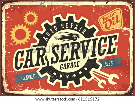 Car service vintage tin sign design concept for garage or auto mechanic. Retro signboard with transportation theme on red background. Vector illustration.