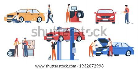 Car service workers. People in repair process, mechanics work fix breakdowns, change automobile details and wheels, make diagnosis and wash auto in garage. Maintenance vehicle vector flat scenes set