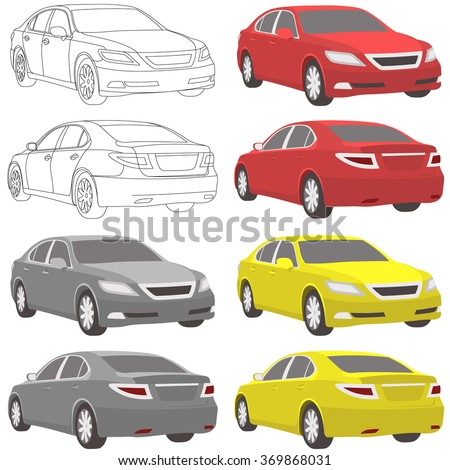 car set illustration two view