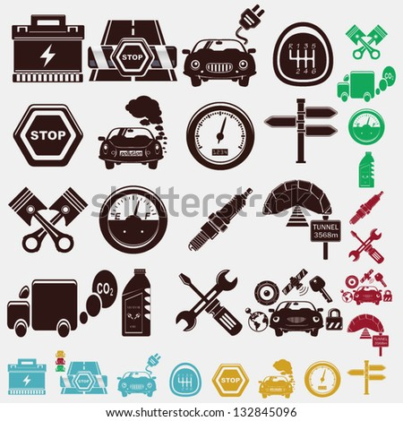 car set of icons