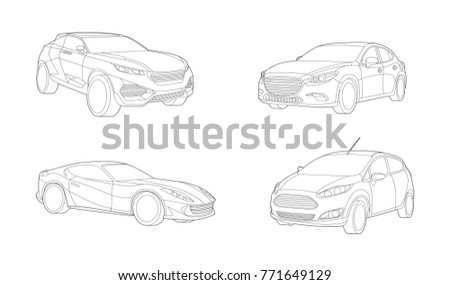 Car set, Transport illustration,Car illustration, Infographic,  Automobile, Vector Illustration