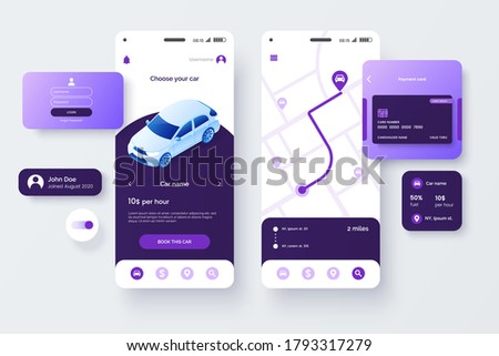 Car share service mobile application template. UI, UX, GUI design elements. User Interface kit isolated on grey background. Car sharing app. Vector eps 10.