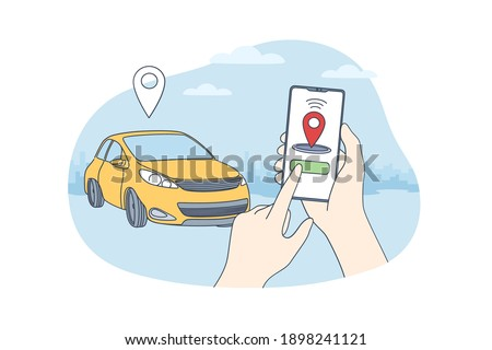 Car sharing and online application concept. Human hands holding smartphone with application of autonomous wireless parking remote connected car sharing service vector illustration