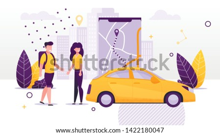 Car Sharing and Rent Service Advertising Cartoong Flat Vector Illustration. Smartphone with Map on Mobile App. Online Rent. Couple Standing near Taxi Car. Man and Woman Ordering Vehicle.