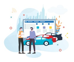 Car Sharing, Buying or Renting Service Advertising Cartoon Flat Vector Illustration. Person Choosing Vehicle and Signing Contact. Man Ordering Sport Car. Two Characters Shaking Hands.