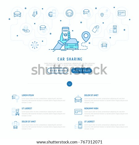 Car sharing concept: searching a car through mobile app with thin line icons around: driver's license, key, blocked car, pointer. Vector illustration, web page template.