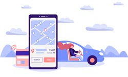 Car sharing concept. The driver woman rented a car through a mobile application by paying a rental with contactless payment technology. Flat vector illustration