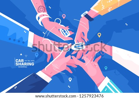 Car sharing hand holding auto keys. Practice of share automobile for regular traveling or commuting flat style concept vector illustration. Transport renting service