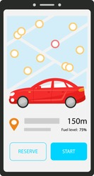 Car sharing mobile application. Phone screen with nearest car on the map. Buttons reserve and start. Carsharing information about the location and amount of fuel of a black automobile