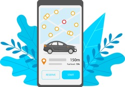 Car sharing mobile application. Phone screen with the ability to select the nearest car on the map and reserve. Information about the location and amount of fuel of a black automobile. Vector