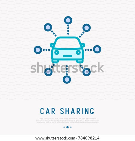 Car sharing thin line icon. Modern vector illustration, infographic template.