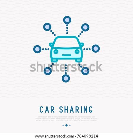 car sharing thin line icon