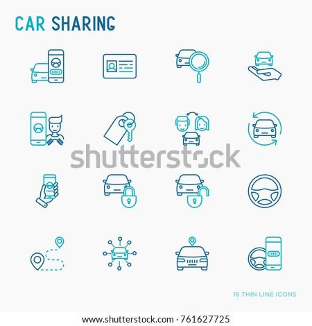 car sharing thin line icons set
