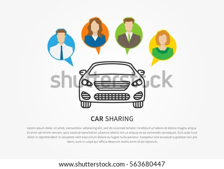 Car sharing vector illustration. Car to share linear graphic design. Transport renting service creative concept.