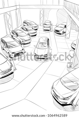 Car showroom exterior design sketch. Hand drawn vector illustration