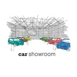 Car showroom interior design sketch. Hand drawn vector illustration