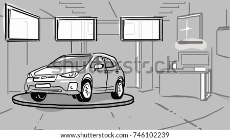 Car showroom. The car is on the podium in the room with monitors. Black and white vector sketch. Simple drawing.