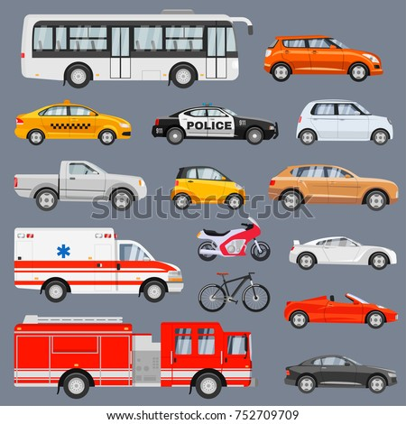 Car side view set. Vehicles driving in the city, coupes, sedans, sports cars, bus, taxi, emergency service transport. Vector flat style cartoon illustration isolated on gray background