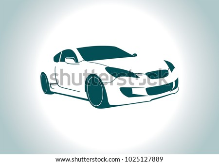 car silhouette on grey background. Hyundai.