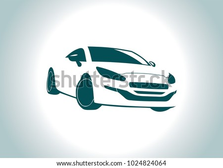 car silhouette on grey background. Peugeot.